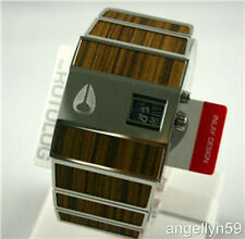 NIXON The Rotolog Mens Watch Silver Wood Grain RARE NEW with Defects