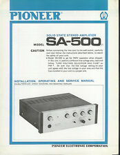 Rare Original Factory Pioneer SA-500 Amplifier Amp Owner's/Service Manual