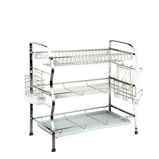 3 Tier Stainless Steel Dish Drainer Plates Glass Cutlery Rack Holder Drip Tray