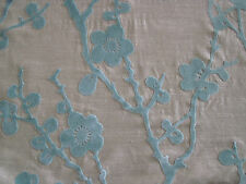 HARLEQUIN CURTAIN FABRIC Juniper Blossom 4 METRES CUT VELVET DUCK EGG/NEUTRAL