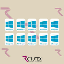 10 x WINDOWS 10 FOR LAPTOP PC HD CYAN BLUE BADGE DECAL STICKER LOGO ADHESIVE
