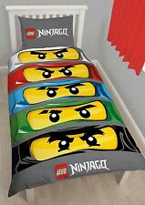 Lego Ninjago Eyes Bricks Single Duvet Quilt Cover Kids Reversible Bedding Set