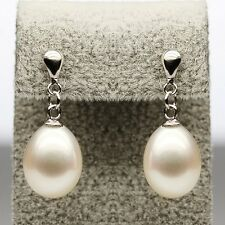 "MP"" Noblest 9-10mm AAA+ white Oval dangle pearl earrings"