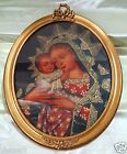 """Madonna & Child Religious Peru Cuzco Painting w/ Antique Style Oval Frame 19x24"""""""