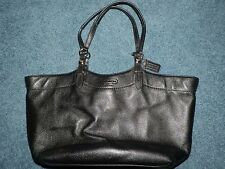 Authentic Black Leather COACH Carly Tote Shoulder Bag F16174 EUC Used Purple