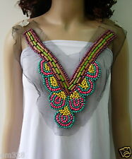 NK230 Colorful V-Neck Collar Wood Beaded Tulle Applique Motif
