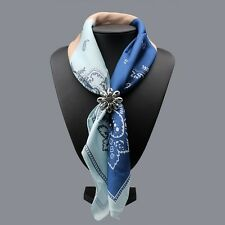 Scarf ring woggle silver colour flower design retro floral scarf accessory gift