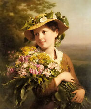 Oil painting fritz zuber buhler - a young beauty holding a bouquet of flowers