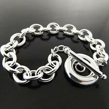 A177 GENUINE REAL 925 STERLING SILVER S/F SOLID CLASSIC TBAR BRACELET BANGLE