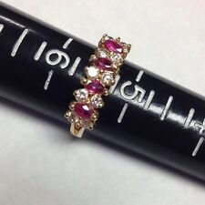 14k 2.72g Yellow Gold Diamond And Ruby Ring.