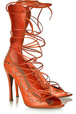 ALAIA Studded Lace Up Leather High Heel Orange Sandals Sz 41 11 US