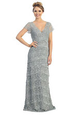 TheDressOutlet Simply Modest Long Silver Mother of the Bride Dress Formal