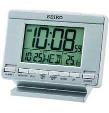 Seiko Digital Alarm Clock LCD Desk Wall Calendar Thermometer Day Date QHL061S