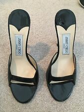 Jimmy Choo Black Patent Mule Slide Heels Sandals 37
