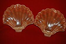 Pair Of Vintage Anchor Hocking Fire King Lusterware Peach Clam Shell Candy Dish