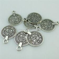 14559 30PCS Alloy Antique Silver Vintage Coin Pendant Charm Fit Earring Fashion