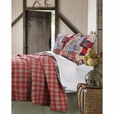 BEAUTIFUL REVERSIBLE RED HUNTING MOOSE BEAR TREE LOG CABIN PLAID QUILT SET KING