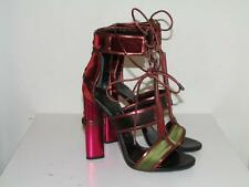 Auth NIB TOM FORD Patchwork Cage Sandals Metallic Velvet Strappy Heels sz 36.5
