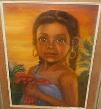 "ESTHER TALLMAN ""HAITIAN GIRL"".YOLANDE ORIGINAL OIL ON CANVAS PAINTING"