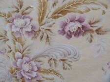Vintage Barkcloth Fabric Bedspread Lavender Flowers & Feather Plumes