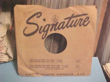 SIGNATURE RECORDS COMPANY FACTORY PAPER SLEEVE ONLY NO RECORD 10 INCH 78 RPM