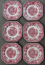 T Hughes & Son Staffordshire Red Transferware Avon Cottage 6 Square Salad Plates