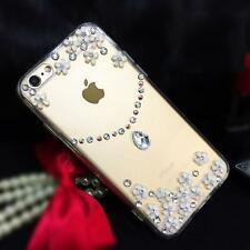 Bling Diamonds Crystal Pearls Thin Clear Soft TPU Back Shell Phone Cover Case 06