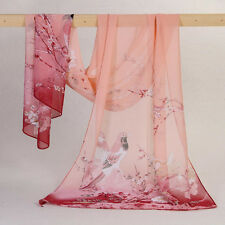 Women Long Soft Wrap Lady Shawl Silk Chiffon Scarf Printed Stole Scarves Pink UK