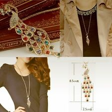 Fashion Unique New For Women Long Peacock Pendants Necklaces Colorful Crystal