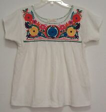 EMBROIDERED Mexican Style MID WEIGHT 100% COTTON GAUZE Hippie PEASANT Top S