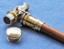 Wooden Walking Stick With Fitted Solid Brass Telescope On Handle - Wooden Cane