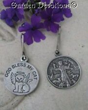 GOD BLESS MY CAT MEDAL w/Halo St. Francis PET TAG CHARM