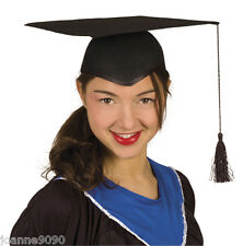 STURDY BLACK FELT MORTAR BOARD HAT SCHOOL GRADUATE FANCY DRESS GRADUATION CAP