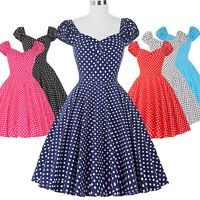 Women Vintage 50s 60s Ladies Polka Dot Pinup Party Skater Swing Dress