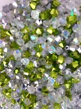 100 Austrian Crystal 4mm Bicone Beads - Green & Silver Metallic & White AB Mix