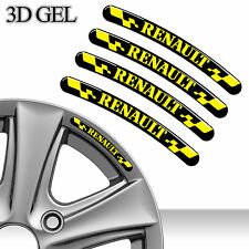 4 DOMED 3D RIM WHEEL STICKERS STRIPE RENAULT CAR AUTO EMBLEM TUNING SPORT C88