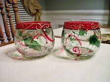 Pair of YANKEE CANDLE CHRISTMAS HOLLYBERRY CRACKLE Votive/Tealight Holders, NEW!