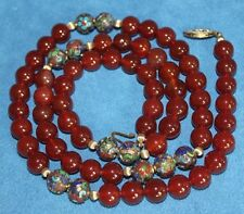 Chinese Orange Jade Carnelian Enamel Cloisonne Gilt Sterling Bead Necklace