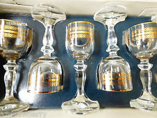 VTG Set of 6 Mariana Lednicke Rovne Crystal & gold Cordials Czechoslovakia box