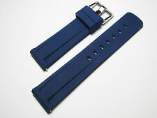 22mm Hadley-Roma MS3373 Mens Blue Silicone Rubber Grooved Dive Watch Band Strap