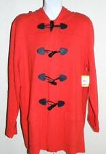 Size M Womens Fiery Red LS Hooded Latch Up Sweater Jacket by ANNE KLEIN $169 NWT
