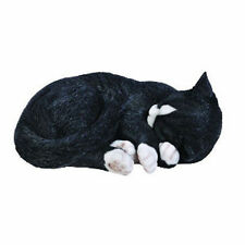 BRAND NEW SLEEPING BLACK/WHITE CAT GARDEN ORNAMENT