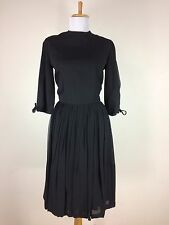 Vintage 1950s Black Chiffon Dress Dance Party Cocktail Ruth Ann Size Medium