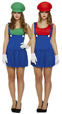 Ladies Mario + Luigi Couples Fancy Dress Costume Outfit Girls Lady Plumber 8-10