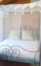 4 POSTER BED CANOPY MOSQUITO NET WHITE SOFT POLYESTER WITH TASSELS