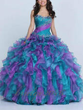 New Beaded Quinceanera Dresses Organza Prom Dress Formal Gowns  Ball Gown Custom