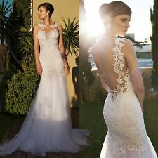 Mermaid Sexy backless NEW White/Ivory Wedding Dress Bridal Gown 8 10 12 14 16+++