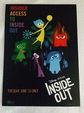 "INSIDE OUT -Original Promo Movie Poster 9.5""x13"" Mint 2015 Pixar Embossed Access"