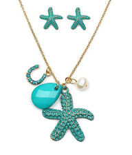 STARFISH And  Horseshoe Pearl Bead Aqua Blue White Bead Necklace Earring Set