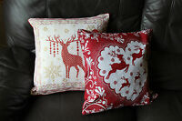 Christmas Decoration - 2 Xmas Glittery Red Festive Cushion Covers w Reindeers